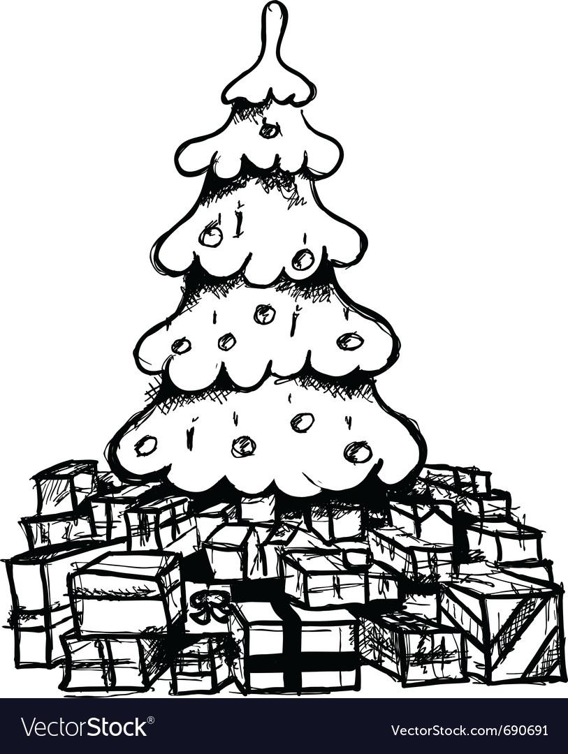 Christmas tree drawing vector
