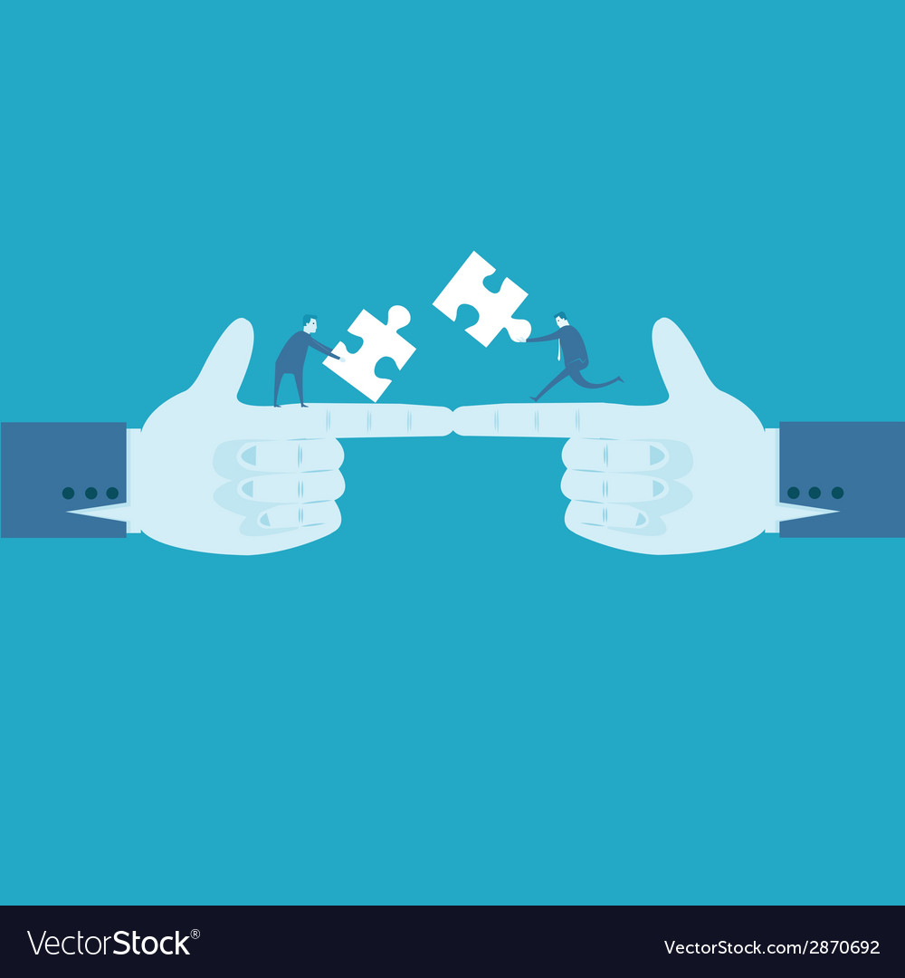 Hands and puzzle business concept vector