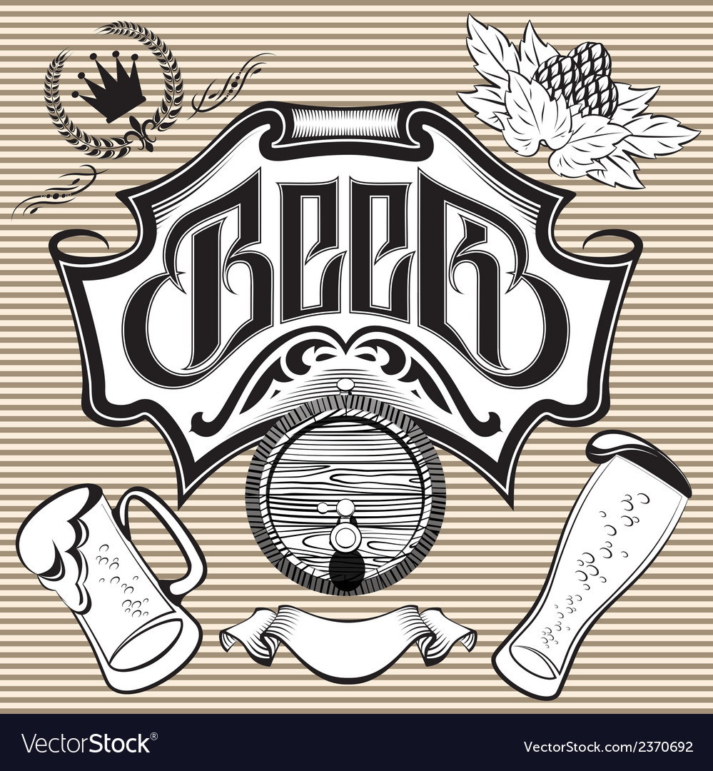 Set of design elements on the theme beer vector