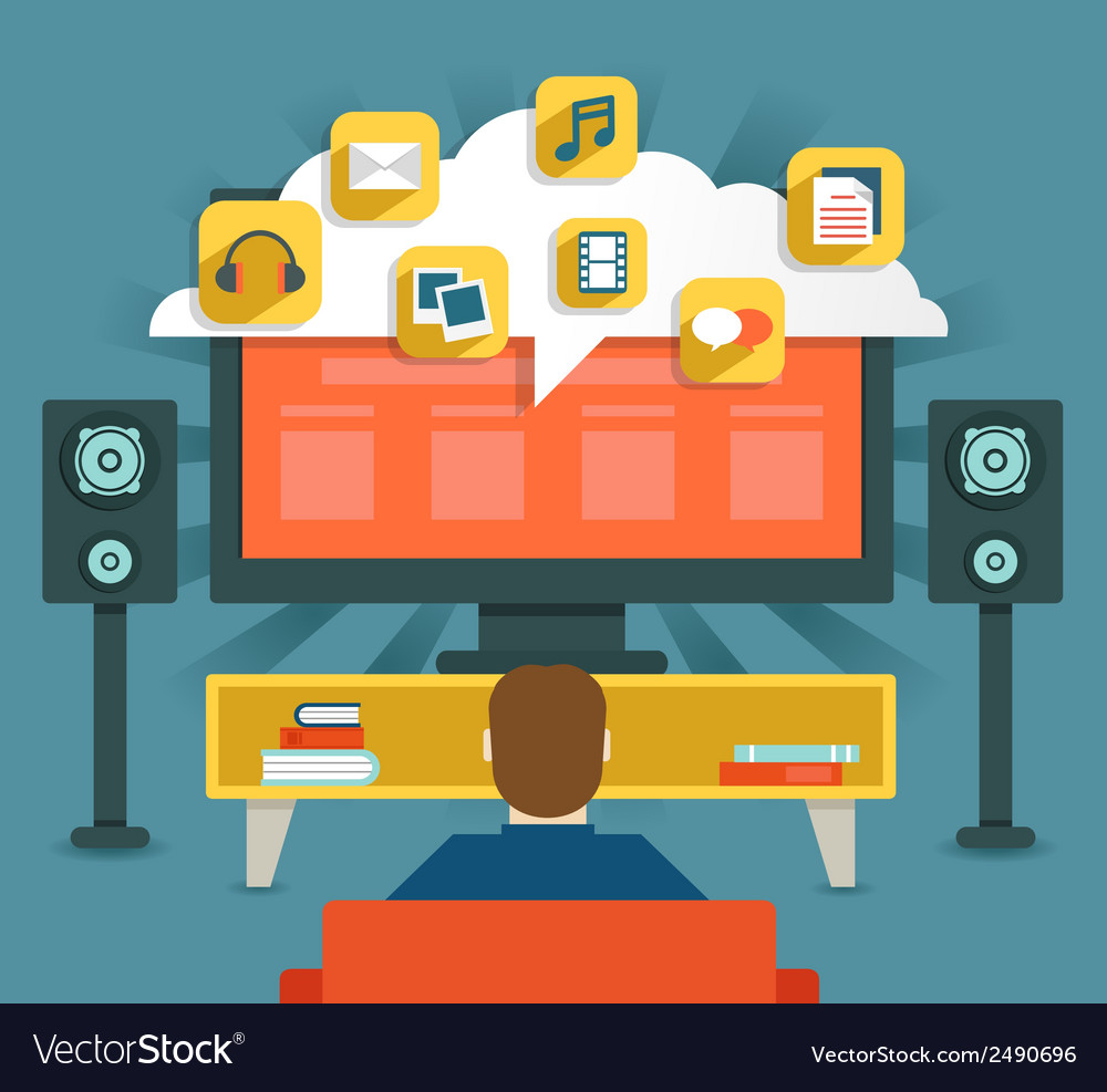 Concept of video gallery and cloud vector