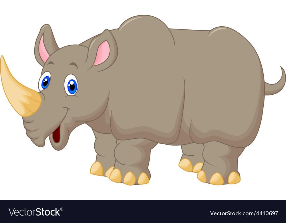 Cute rhino cartoon vector
