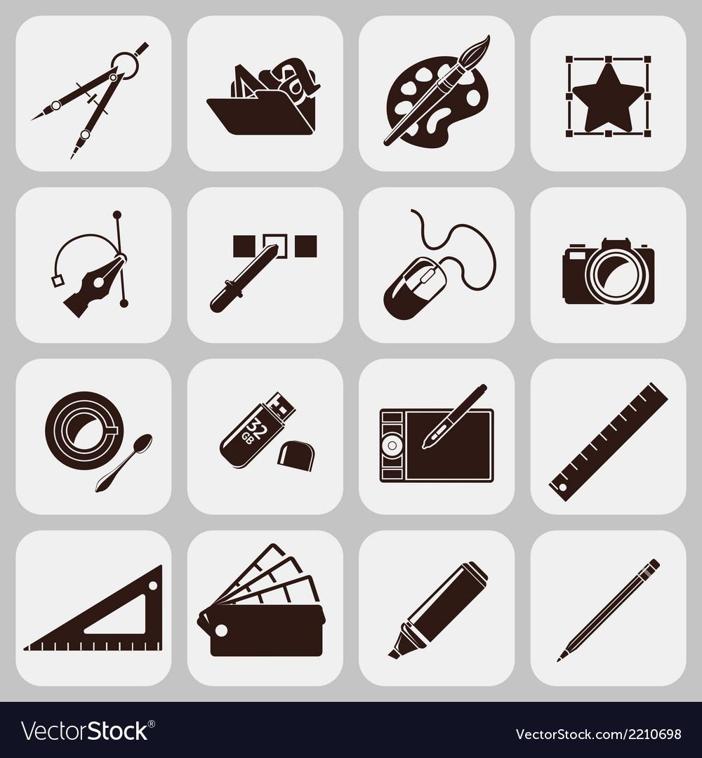 Designer tools black icons vector