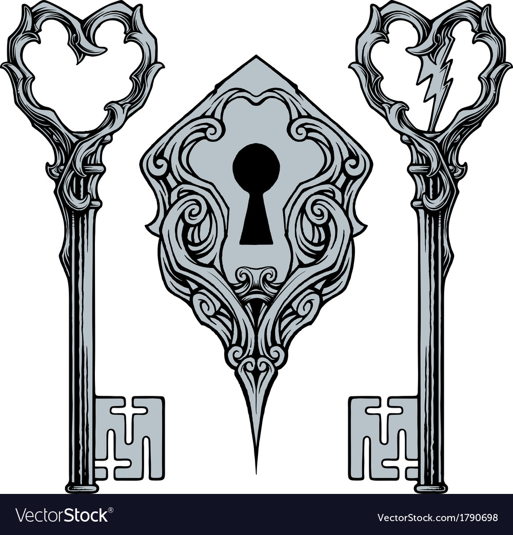 Keys and key hole vector