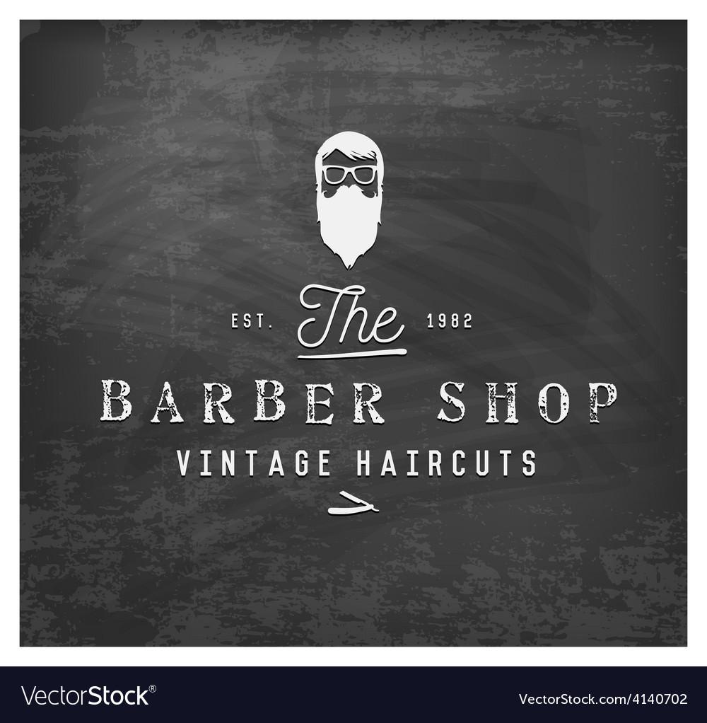 Vintage barber shop design element on chalkboard vector