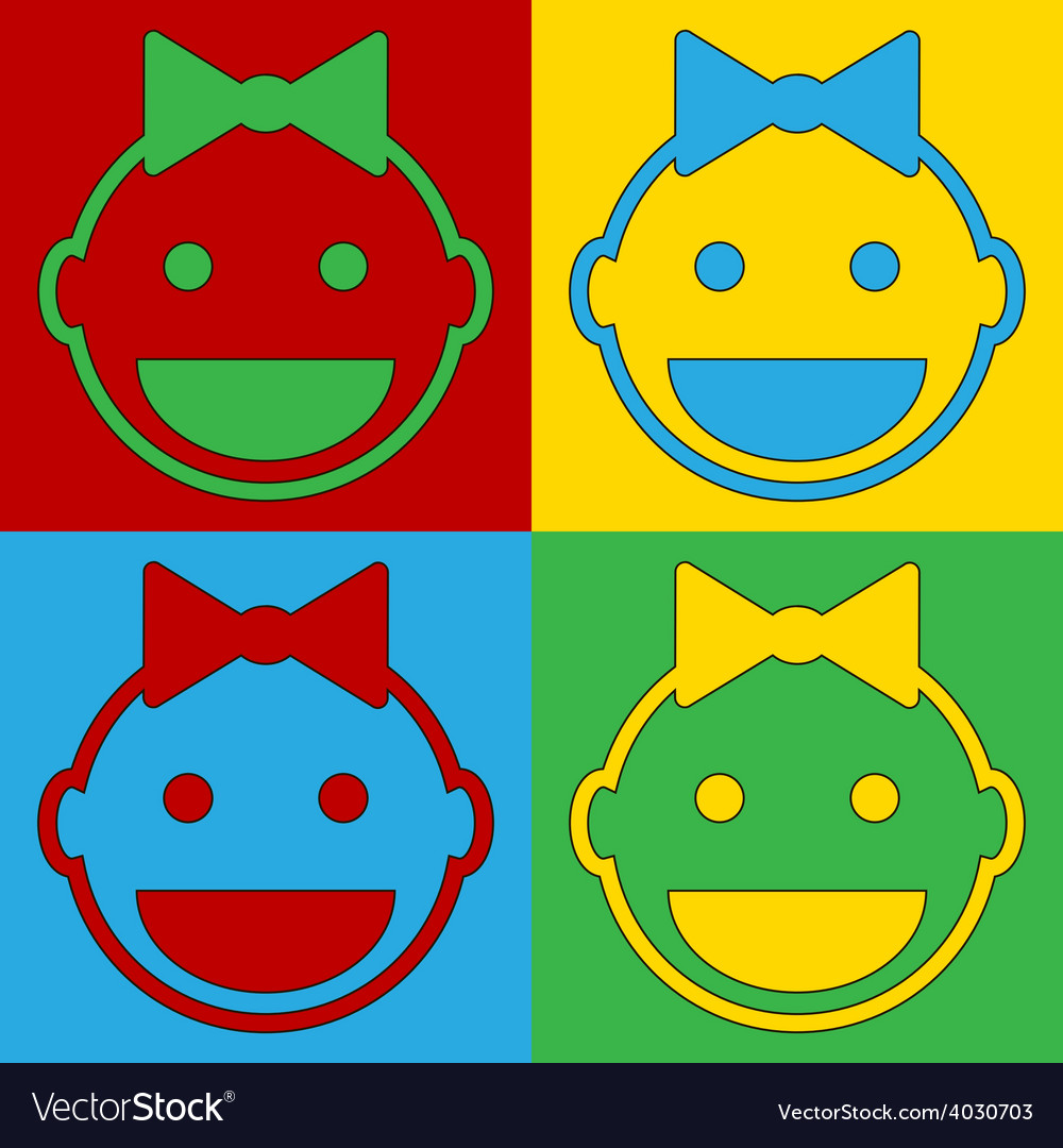Pop art baby face icons vector