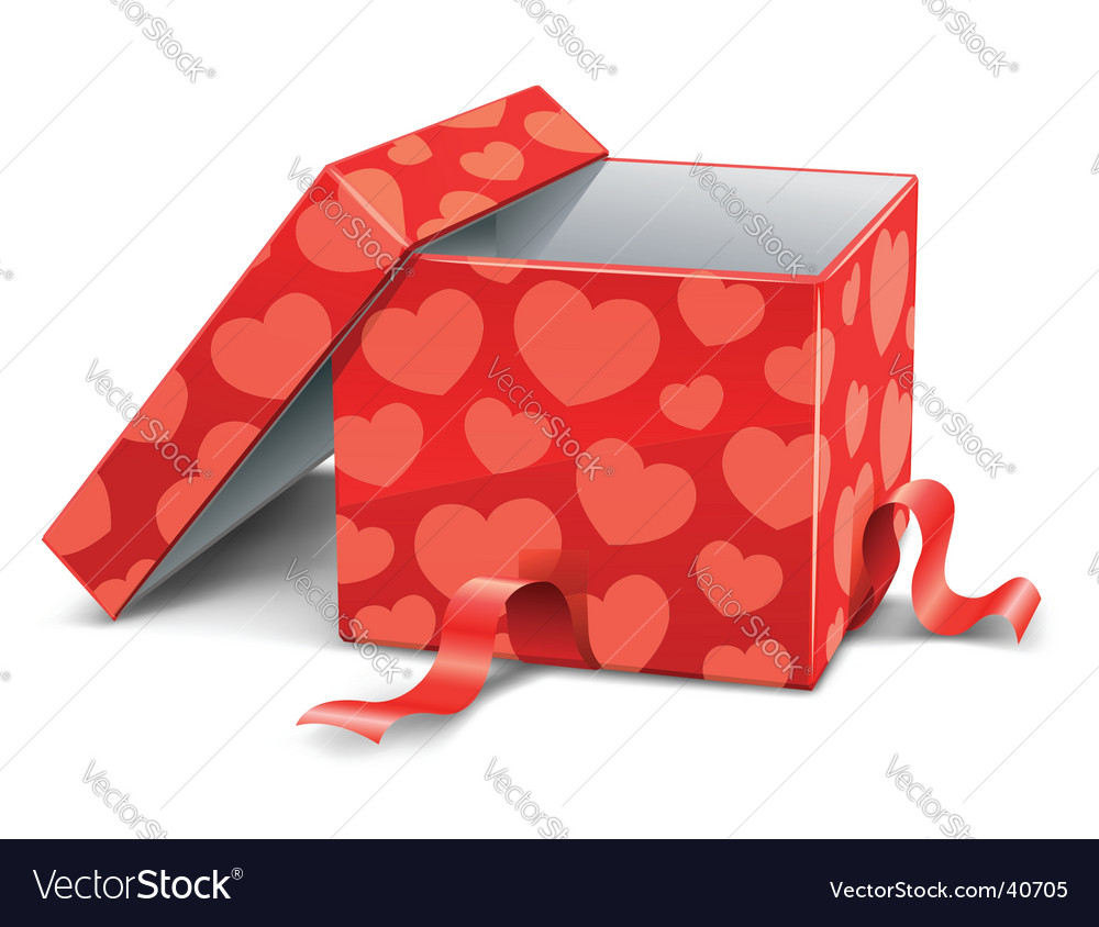 Cardboard box with hearts vector