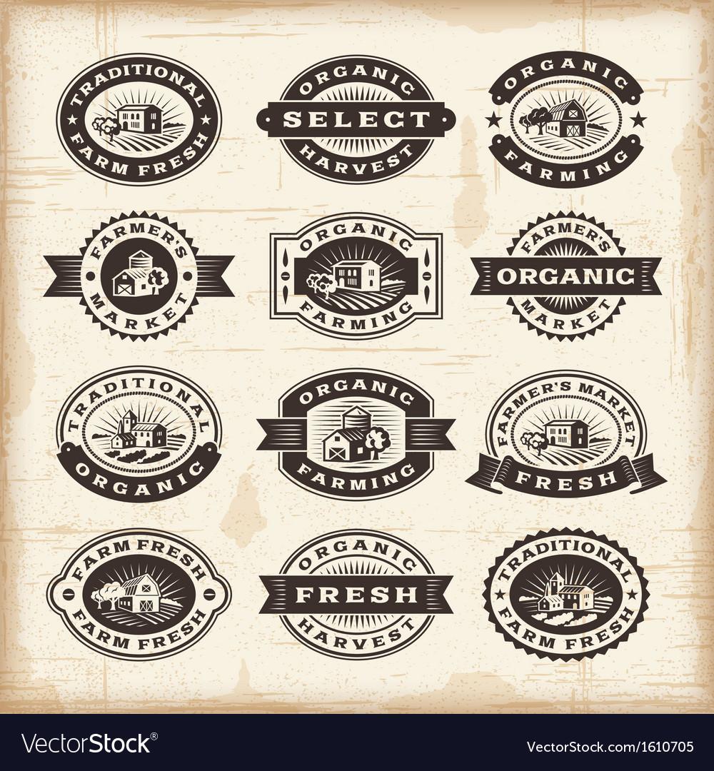Vintage organic farming stamps set vector