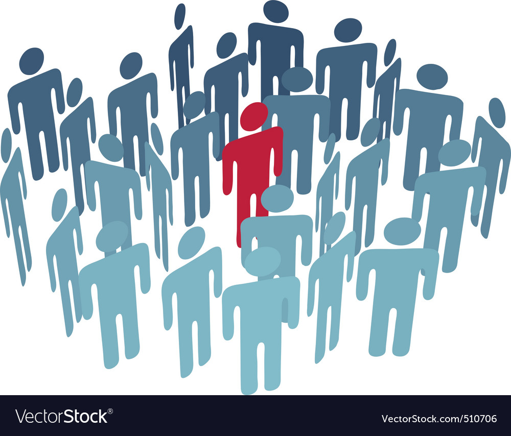 Key man center figure in group company people vector