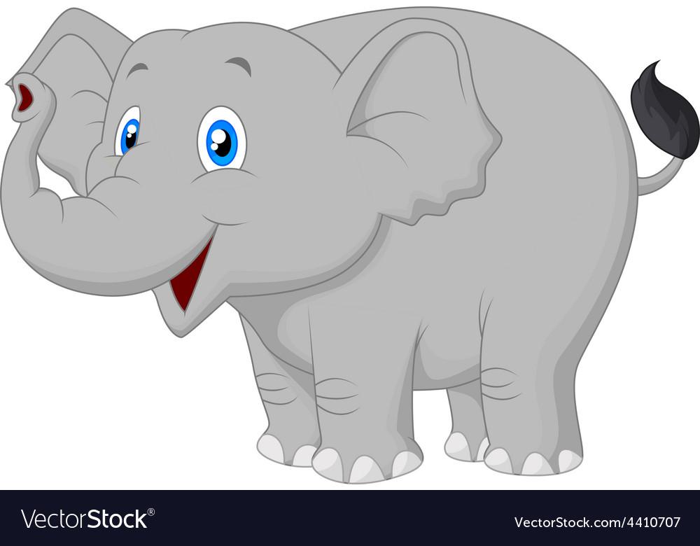 Cute cartoon elephant posing vector