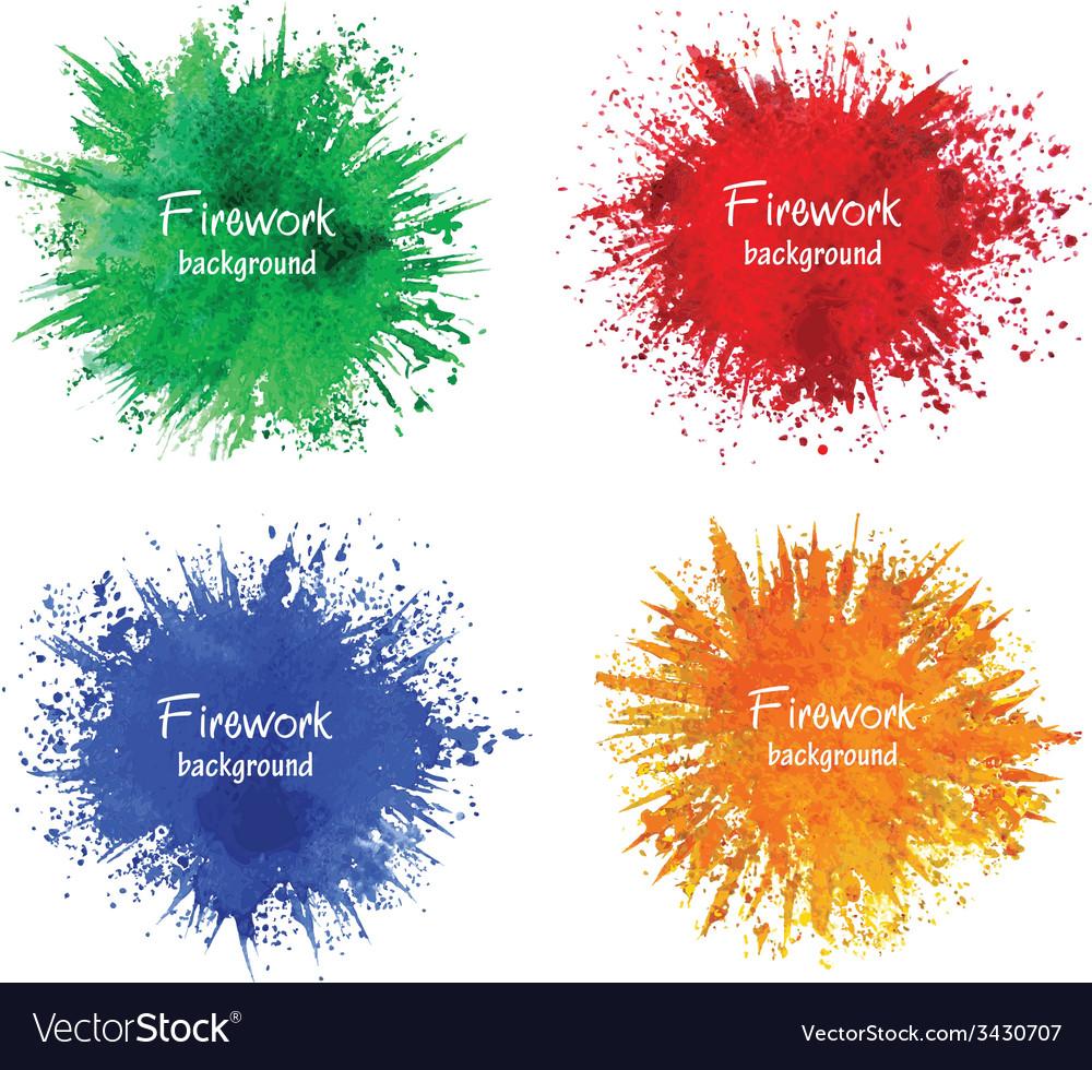 Watercolor firework splatter vector
