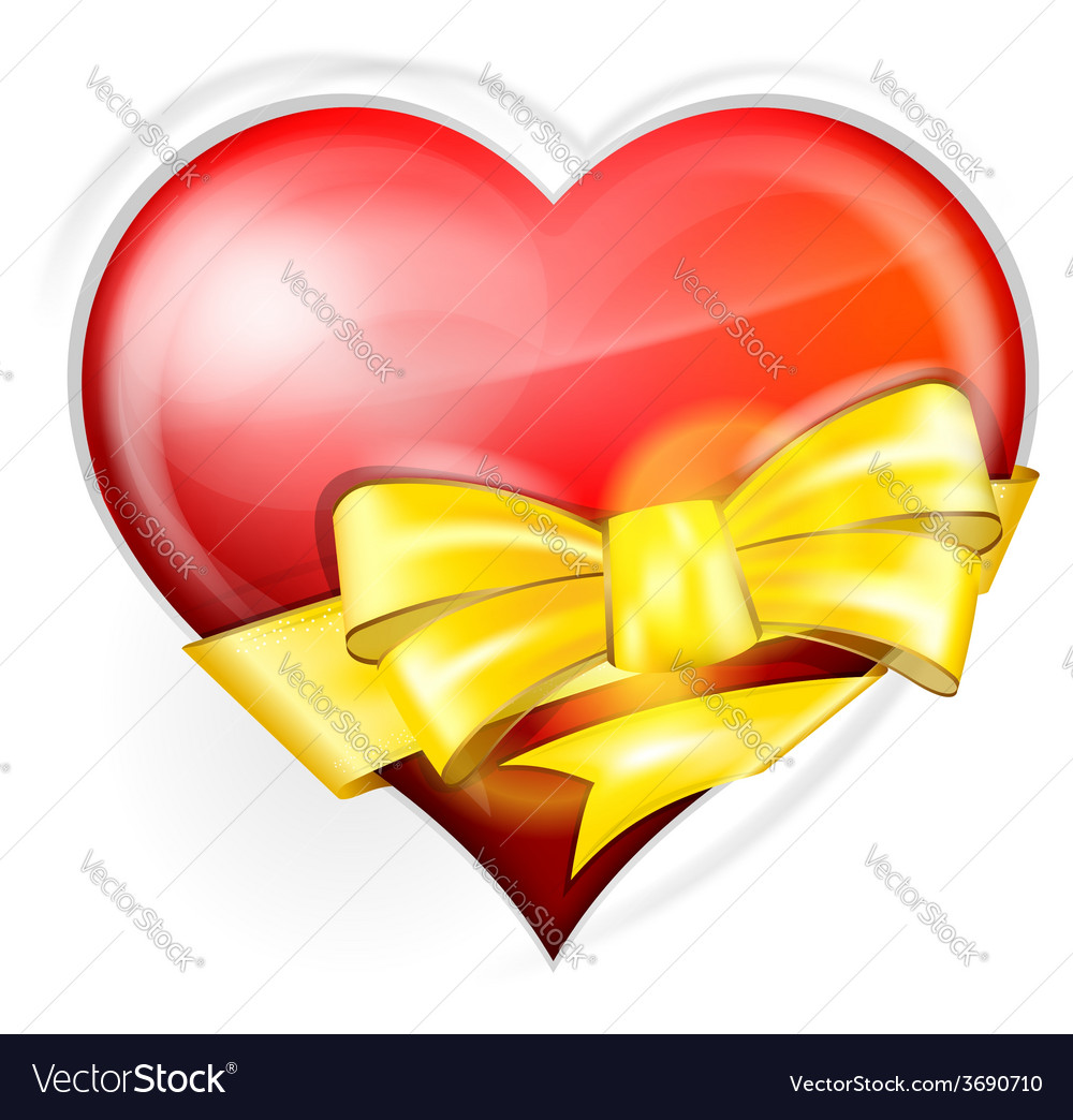 Heart with gold bow vector