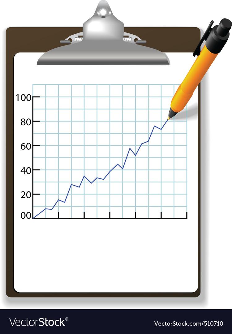 Pen drawing financial growth chart clipboard vector