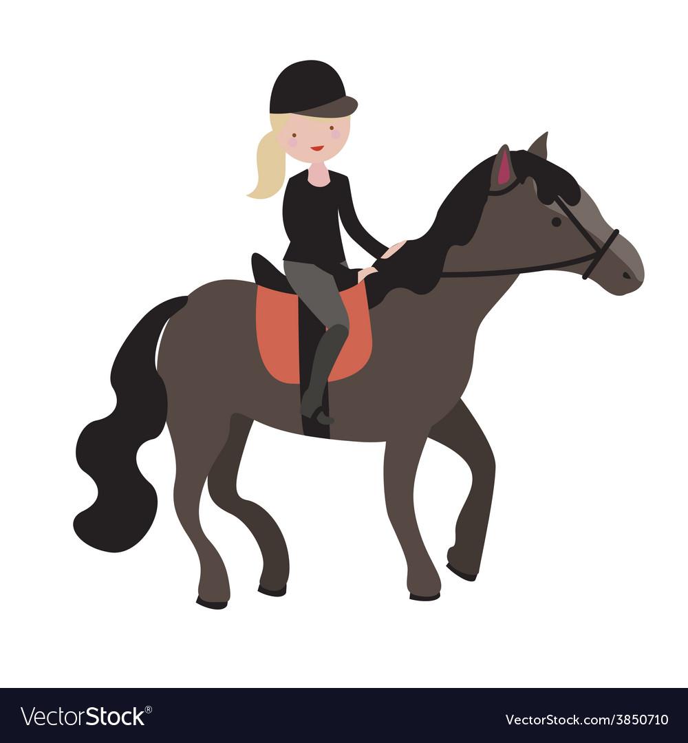 Young girl parade rider vector