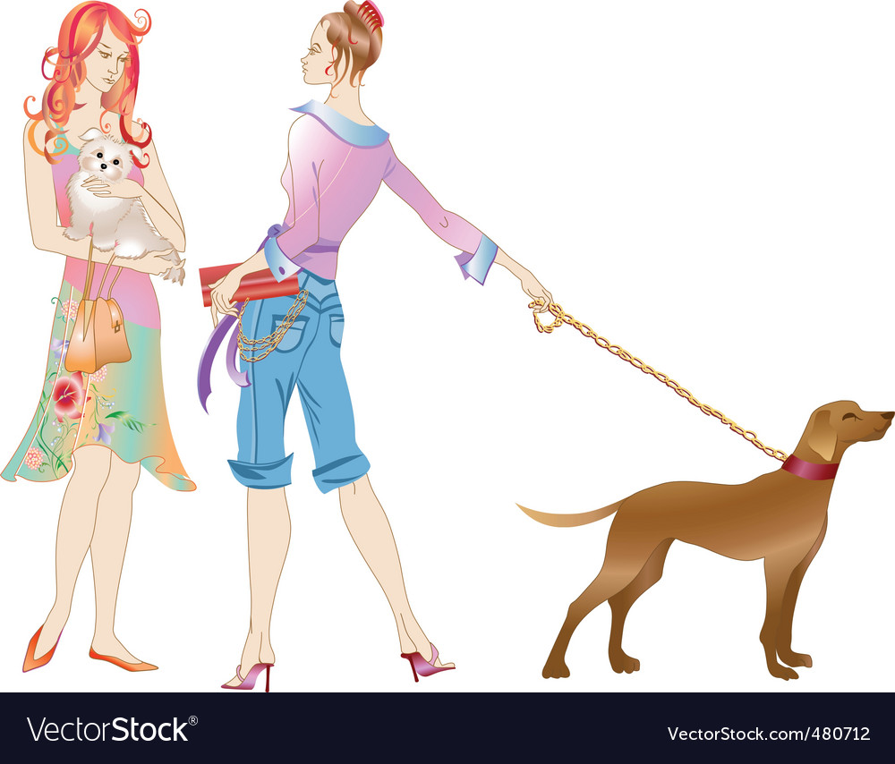 Two girls with the dogs vector