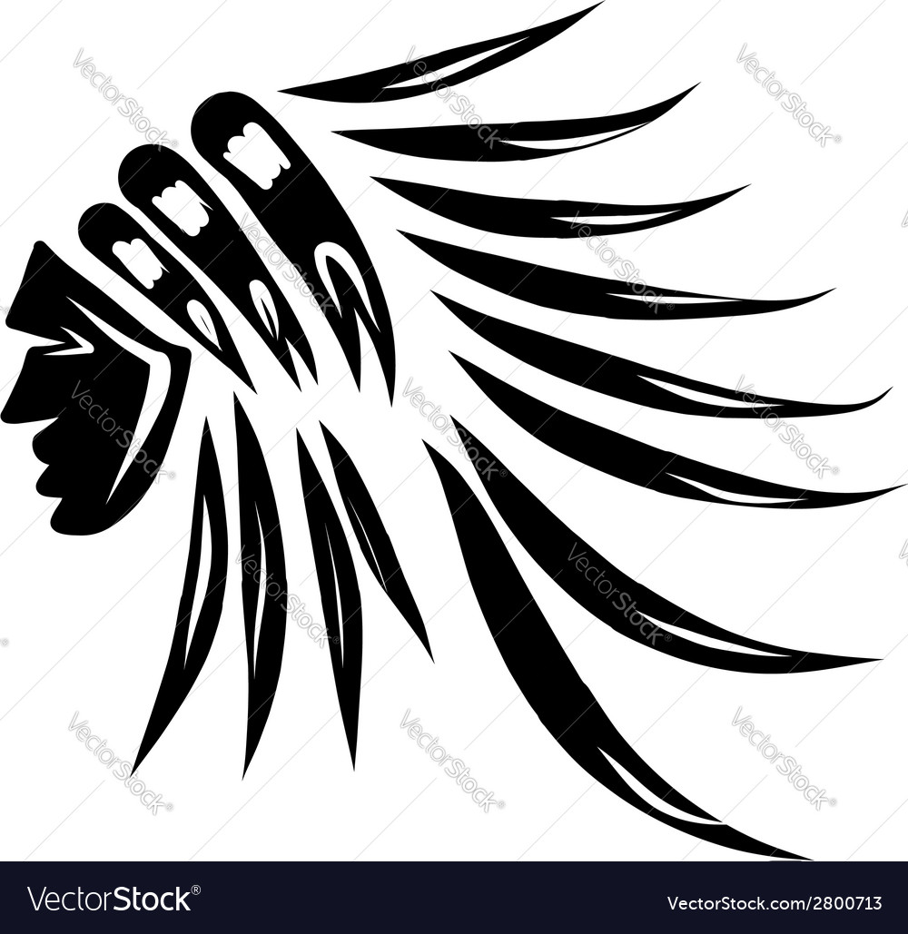 Head of indian chief black silhouette for your vector