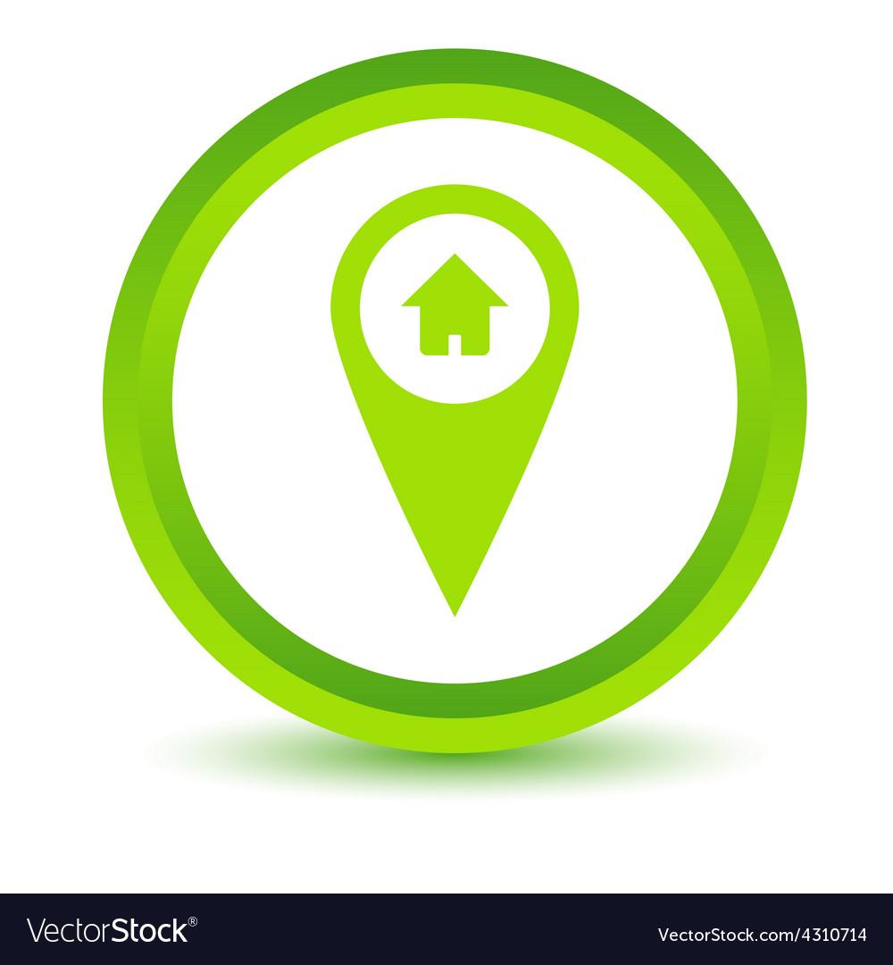 Green home pointer icon vector