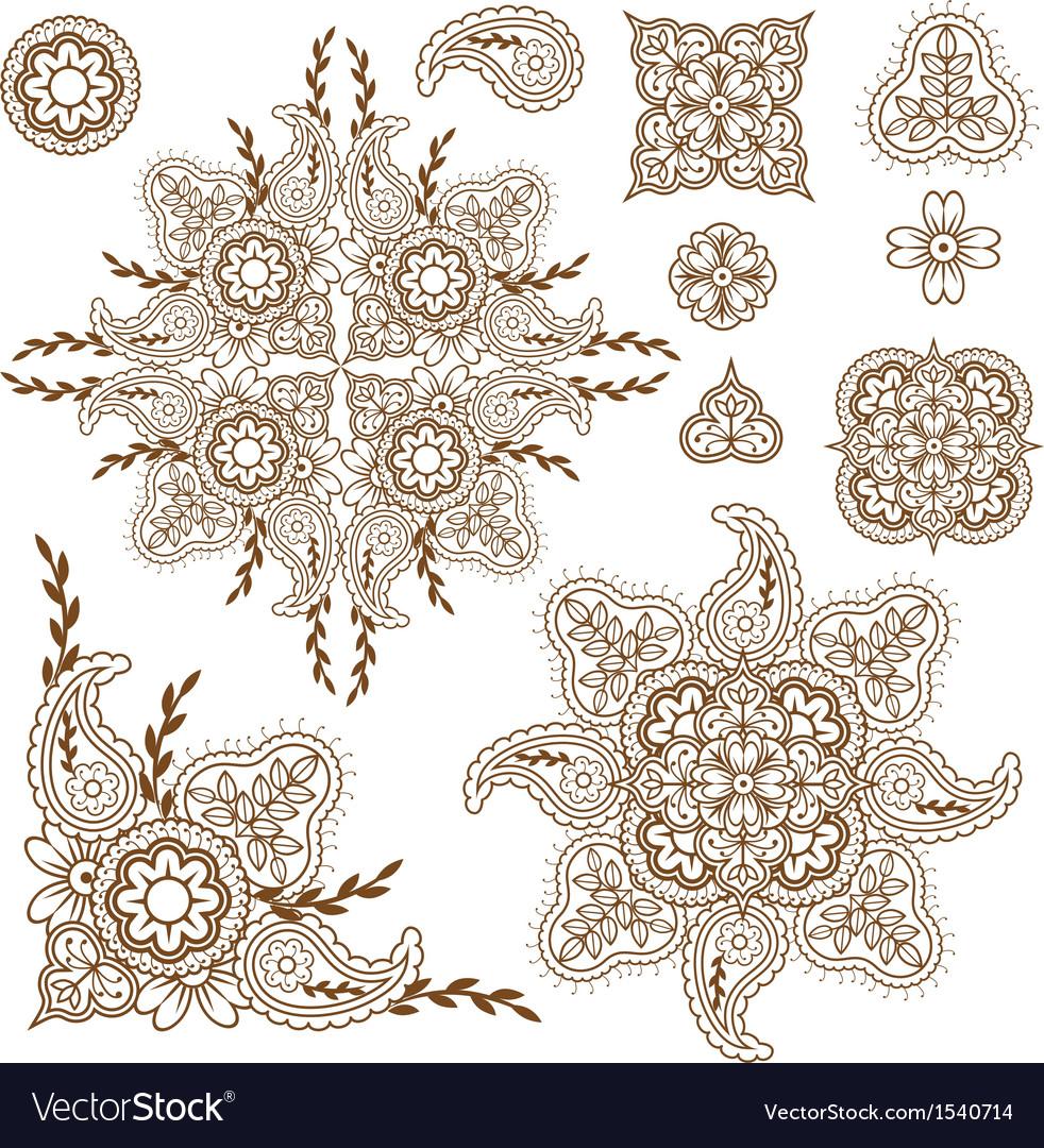 Paisley pattern set vector
