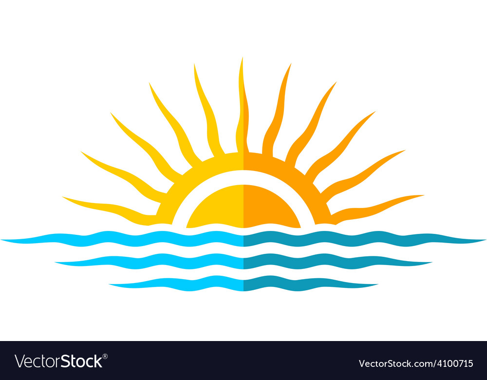 Travel logo template sun with sea waves vector