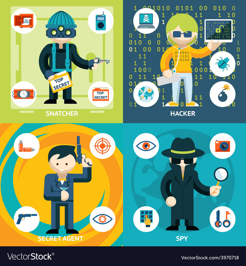 Espionage and criminal activity graphics vector