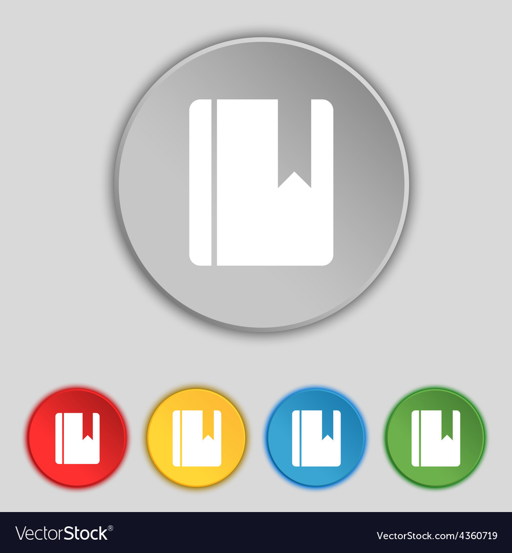 Book bookmark icon sign symbol on five flat vector