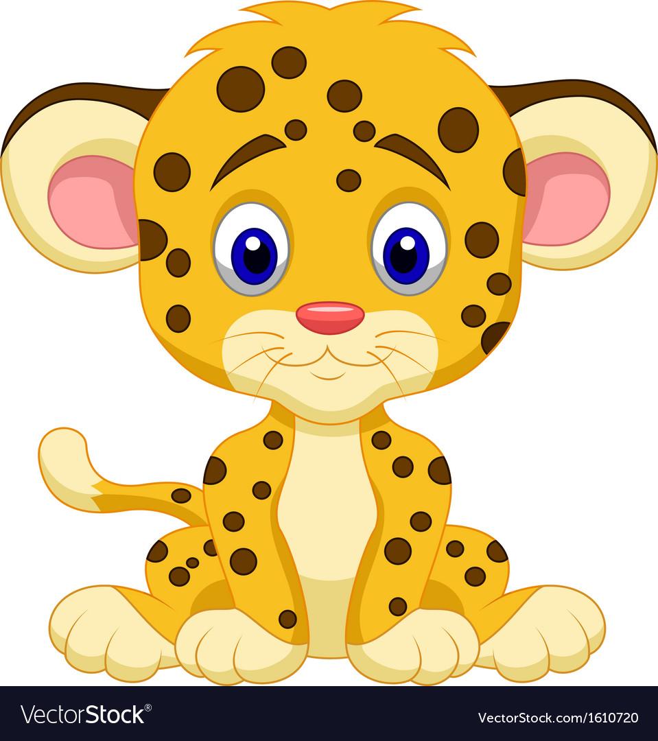 Baby leopard cartoon vector