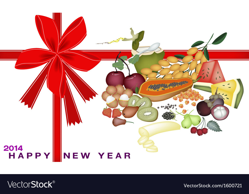 New year gift card with health and nutrition fruit vector