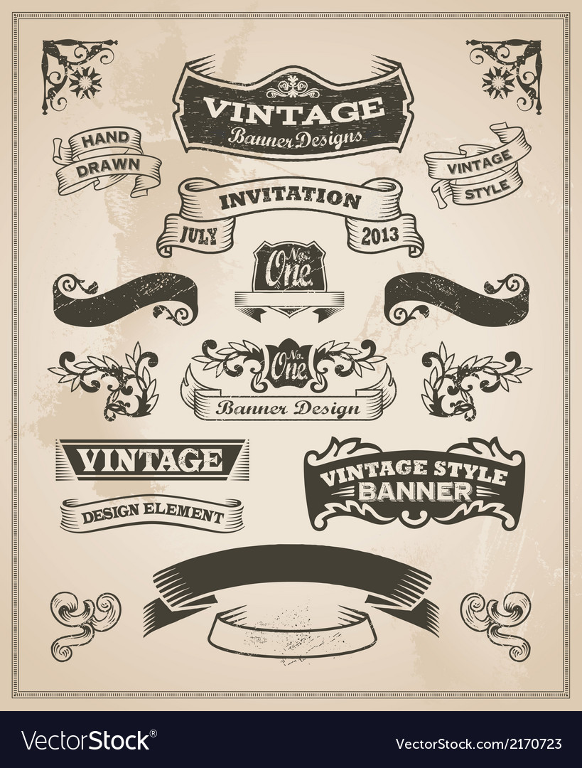 Retro vintage banner and ribbon set vector