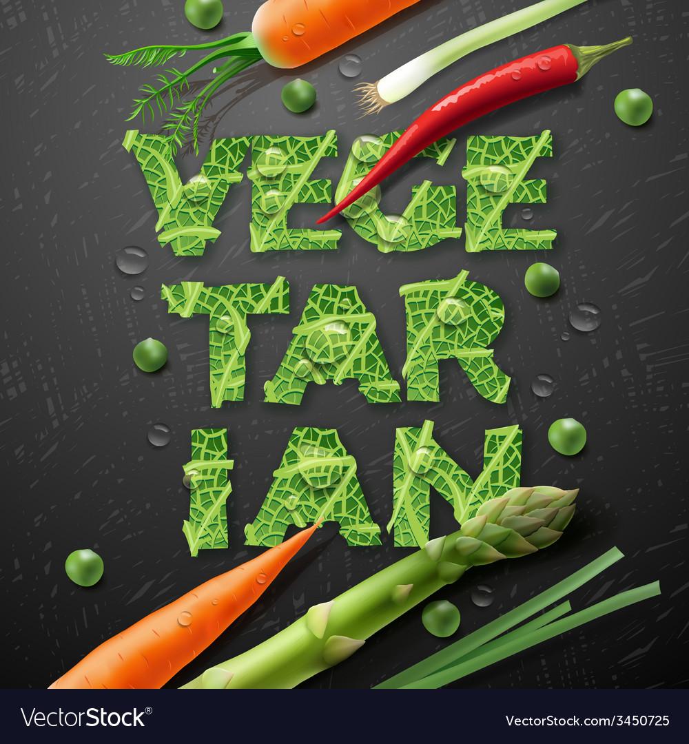 Vegetarian design template with fresh vegetables vector