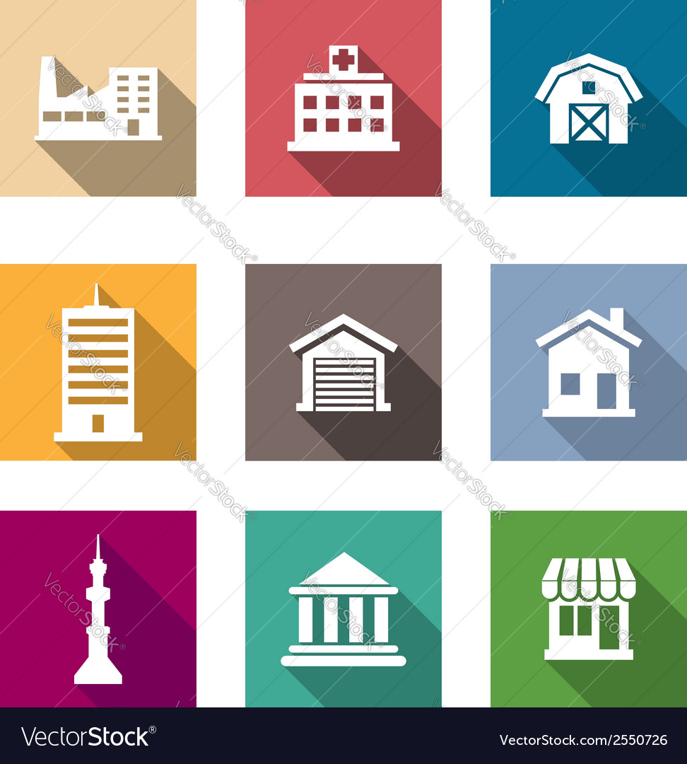 Flat buildings icons set vector