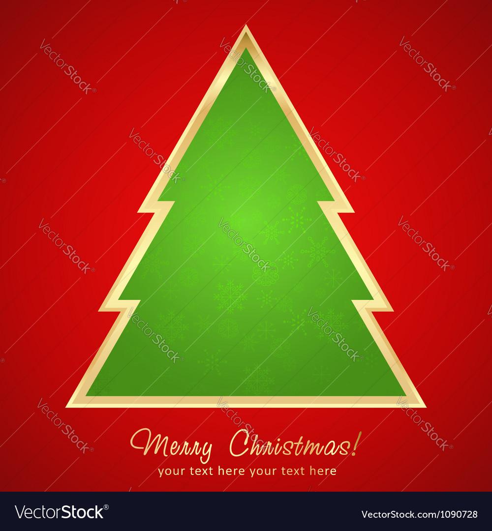 Christmas greeting card with cartoon xmas tree vector