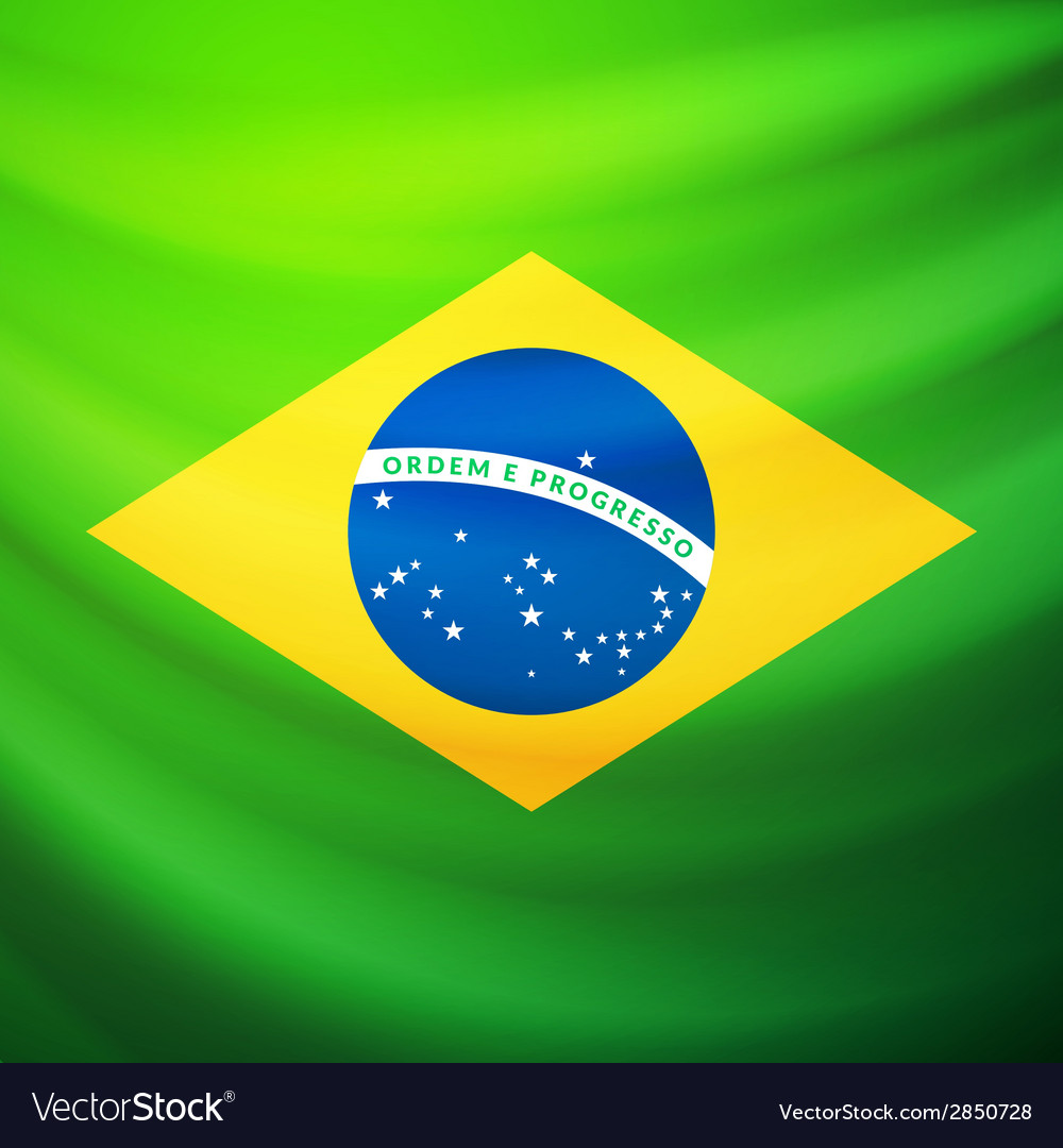 Waving fabric flag of brazil vector