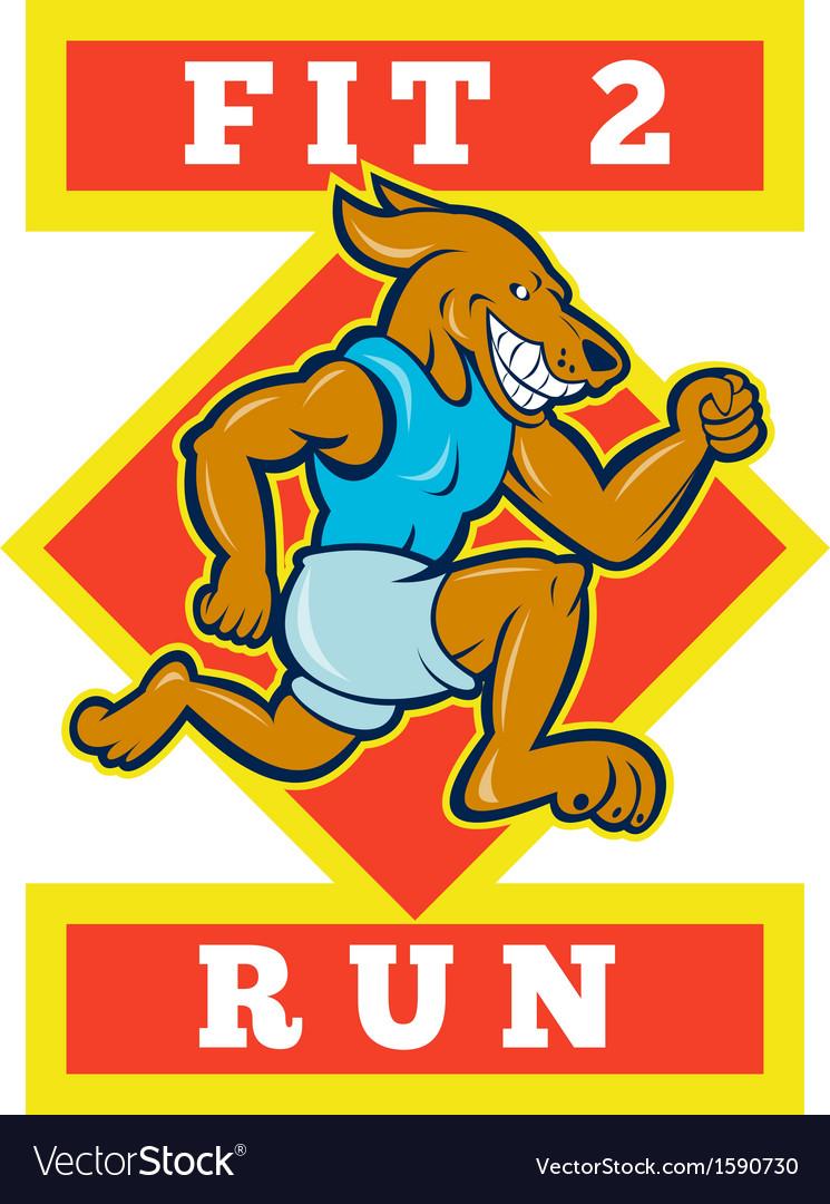 Dog running jogging fit 2 run vector