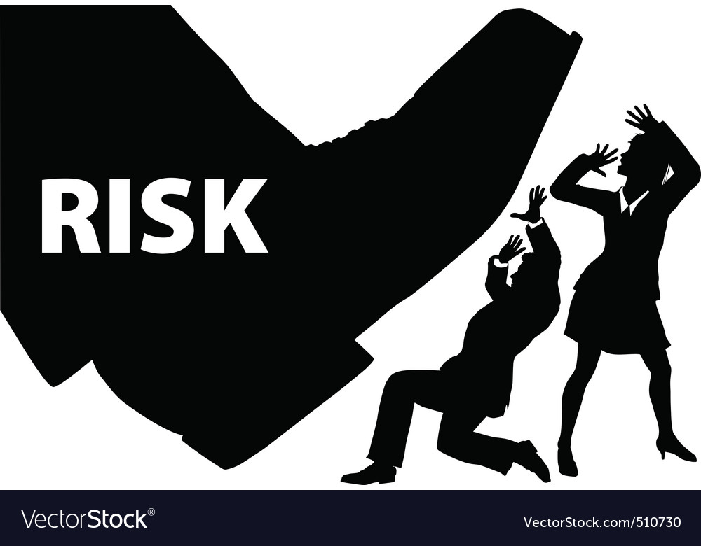 Risk foot step on uninsured business people vector