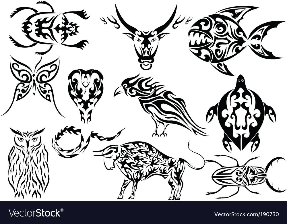Set of tribal animal tattoos vector