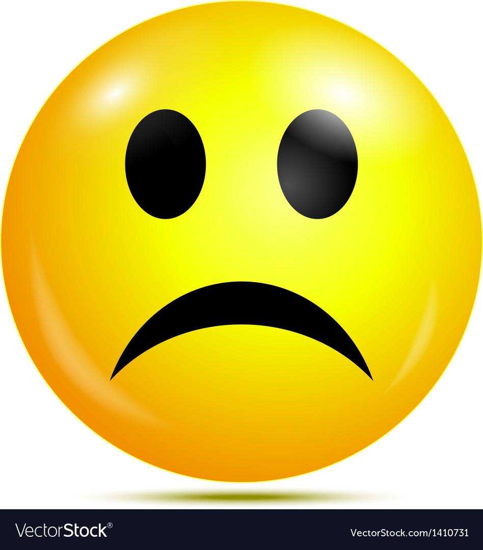 Unhappy glossy smiley icon vector