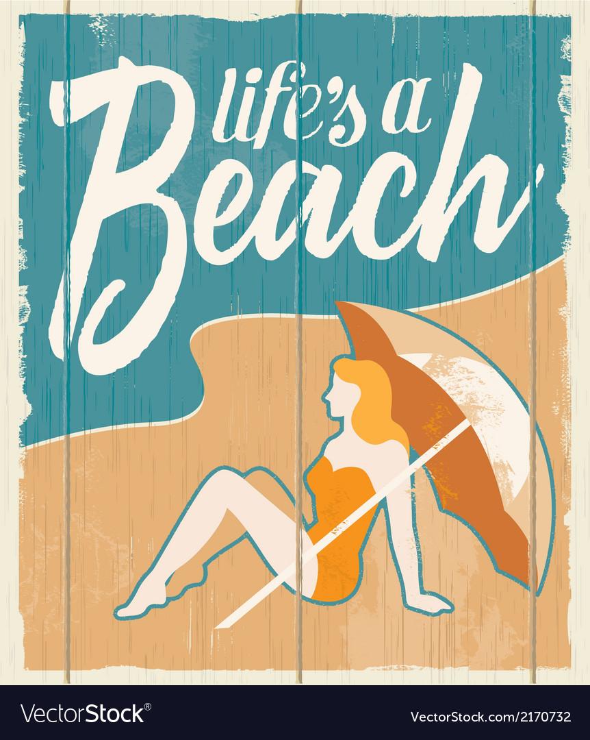 Vintage retro beach poster - wooden sign vector