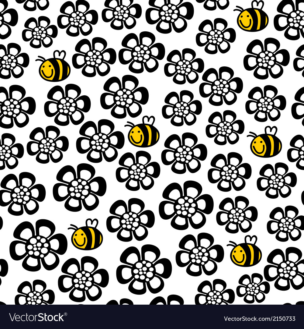 Seamless floral pattern with cartoon bee vector