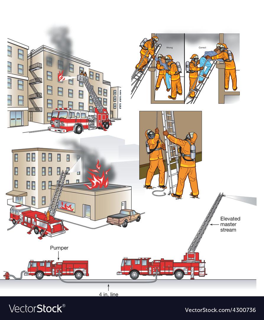 Fire rescue scenarios vector