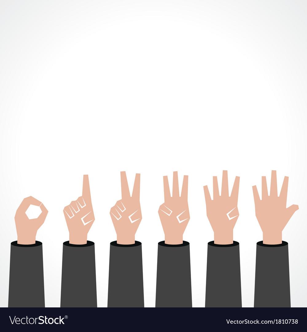 Hands make number zero to five vector