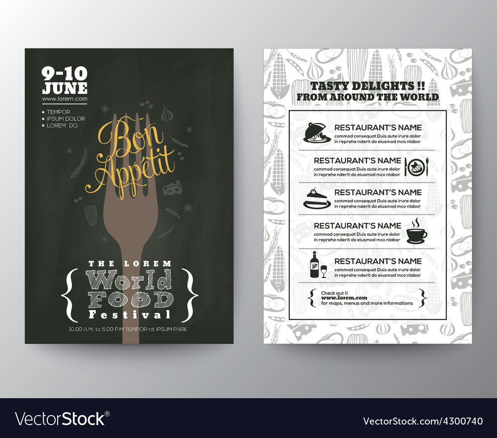 Food festival poster brochure flyer design layout vector