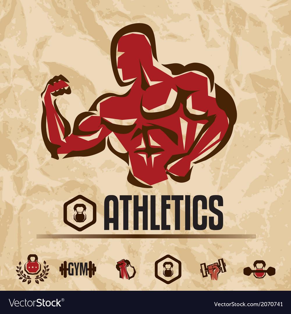 Athletics gym labels vintage fitness emblems vector