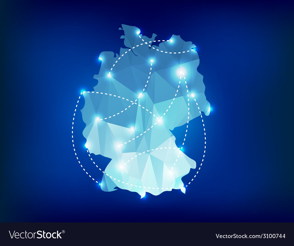 Germany country map polygonal with spot lights vector