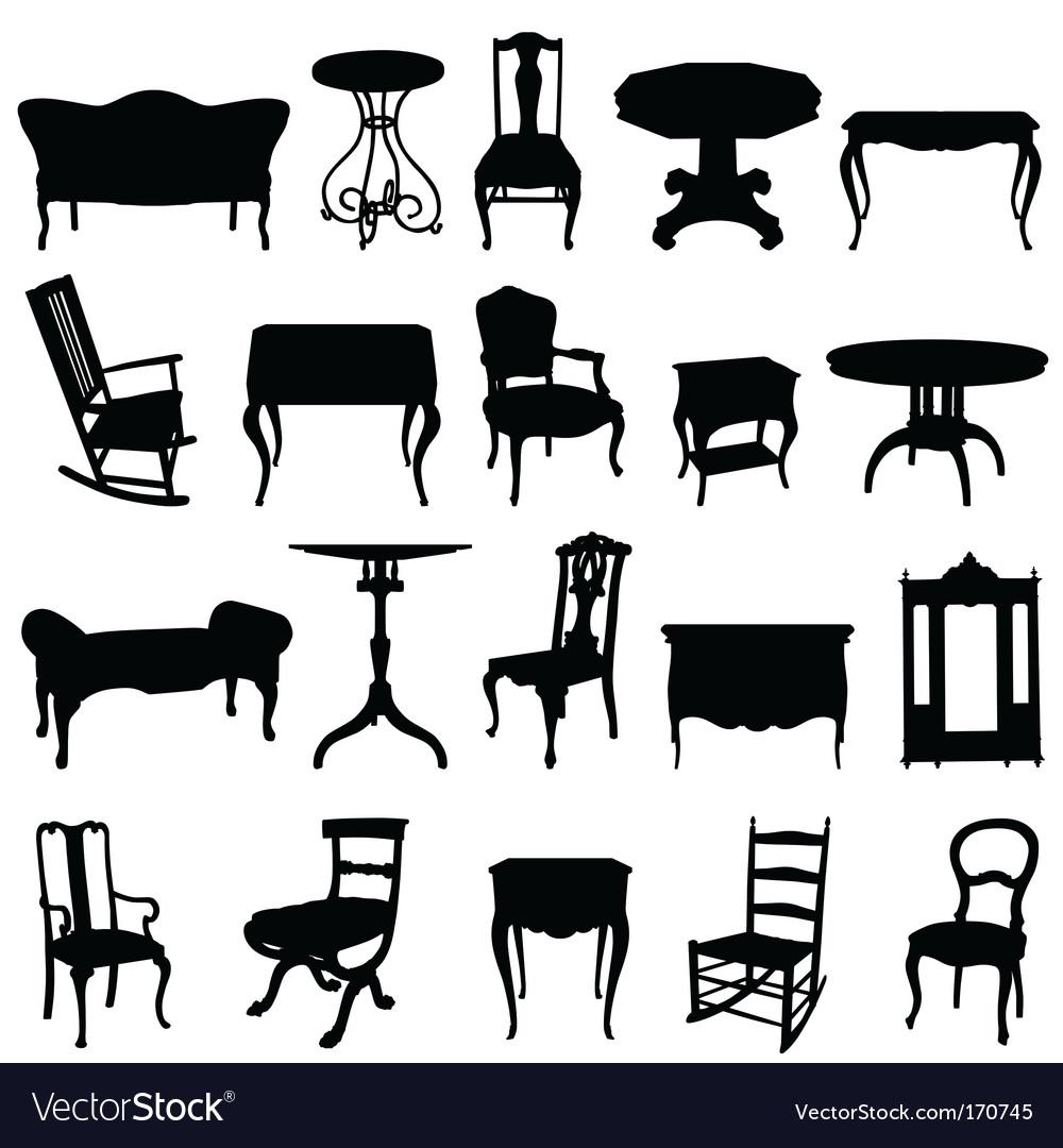 Antique furniture's set vector