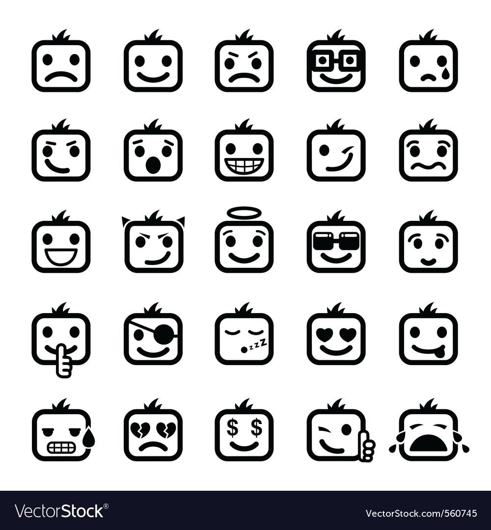 Set of 25 smiley faces vector