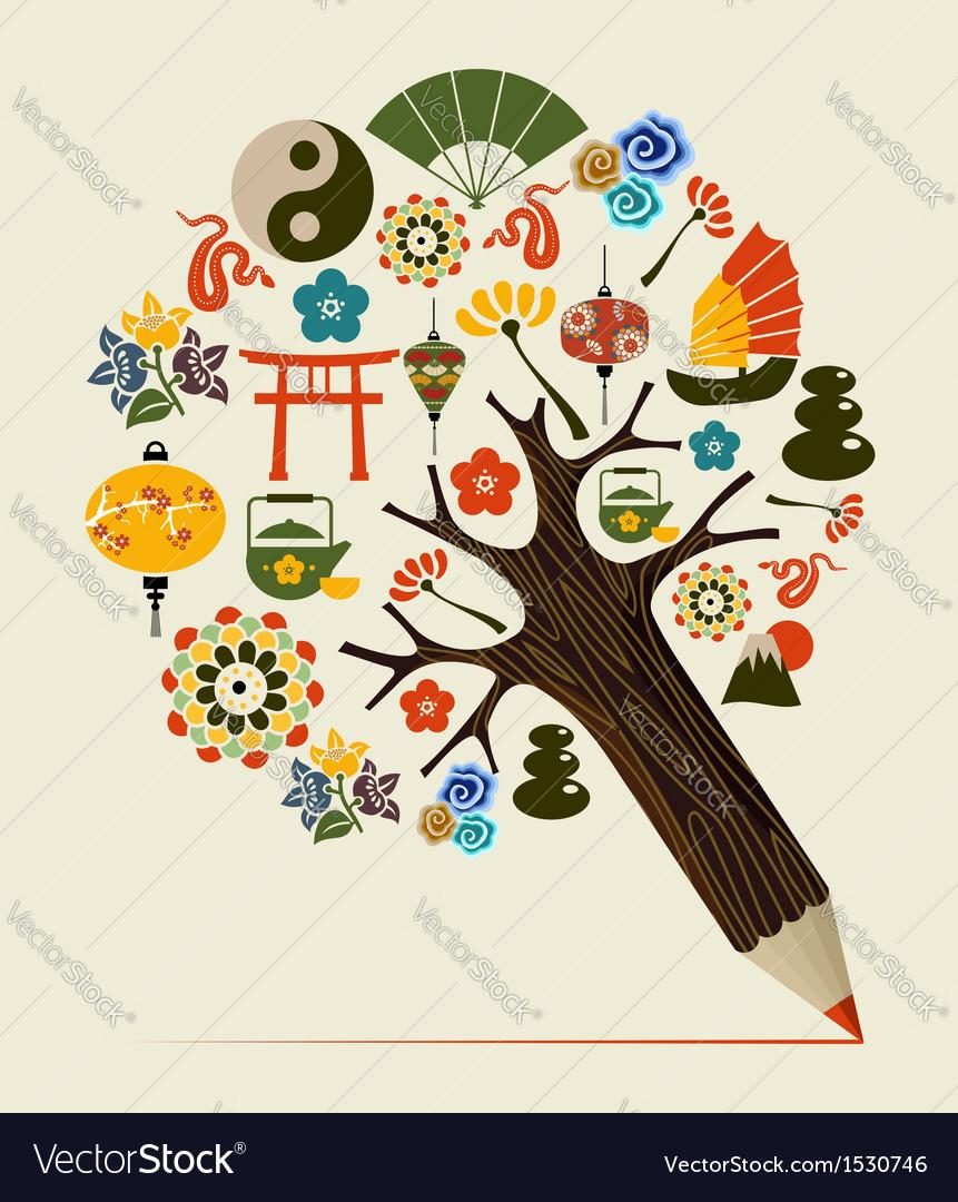 China tradition concept pencil tree vector