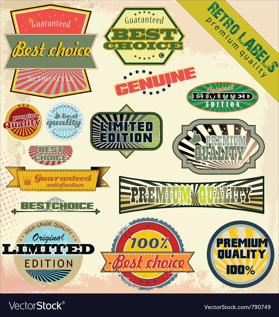 Retro premium quality labels vector