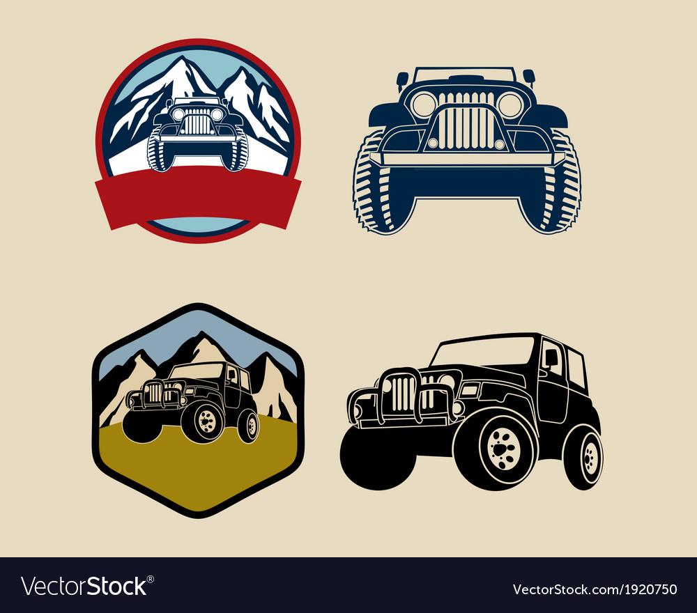 Jeep emblems with mountains vector
