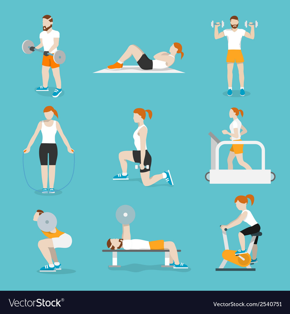 People gym exercises icons set vector