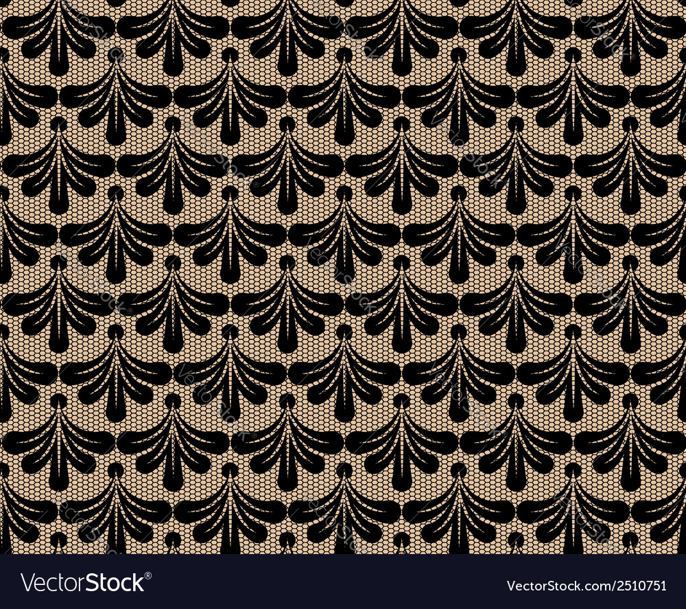 Seamless black lace background vector