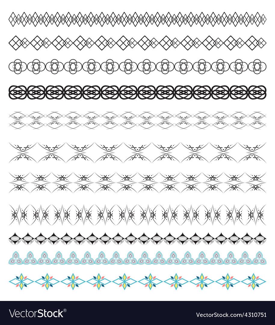 Set of calligraphic design borders elements vector